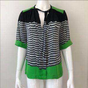 DVF colorblock silk blouse 10